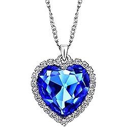 NEOGLORY Collar de Corazón Amor Love Heart con Cristal Azul Joya Regalo Mujer Chica