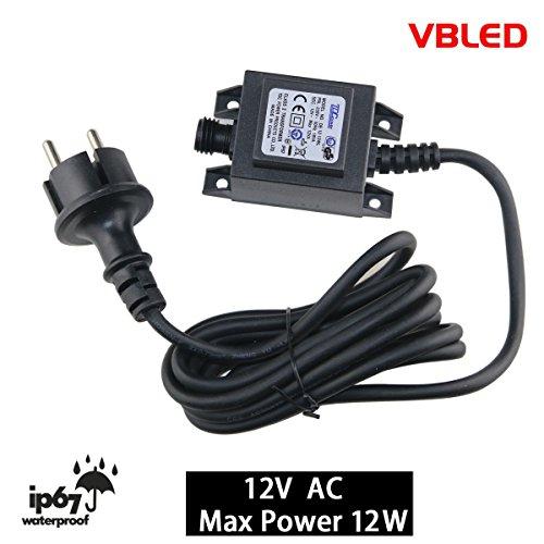 VBLED® 12W Netzteil / Trafo / Transformator 12V AC wassergeschützt IP67 für aussen / außen Input 230V Output 12V Anschluss IP44 1,9 m Kabel für Gartenspot / Gartenstrahler (Max. 12W)