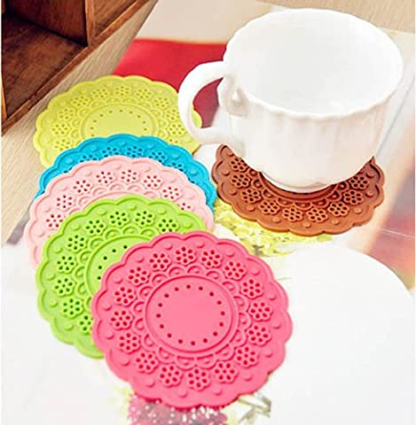 6x bunte Silikon Knöpfe Kaffee Untersetzer Getränk Tee Glas Becher Halter Mat