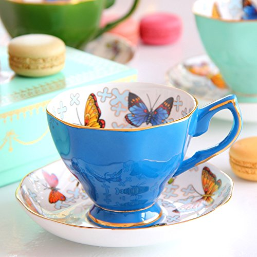 Ensemble de thé en tasse de thé en céramique / ensemble de thé en papillon Ensemble de théière en tasse / 1 tasse 1VCD / (6 couleurs en option) ( couleur : C )