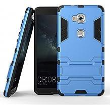 Funda para Huawei Honor 5X (5,5 Pulgadas) 2 en 1 Híbrida Rugged Armor Case Choque Absorción Protección Dual Layer Bumper Carcasa con pata de Cabra (Azul)