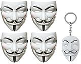 Chamber37 V para Vendetta Mask - Cconjunto de 4 Máscaras (+ Llavero de Blanco)