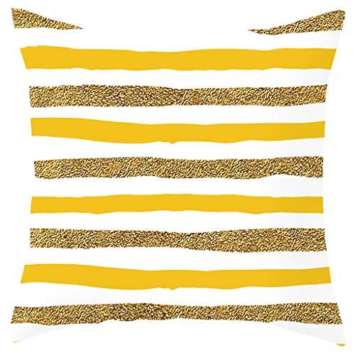 Kissenbezüge 45x45 cm Kurzer Plüsch Kissenhüllen in Segeltuch mit Geometrischen Mustern für Sofa Auto Terrasse Zierkissenbezüge Serie Gelb By Vovotrade