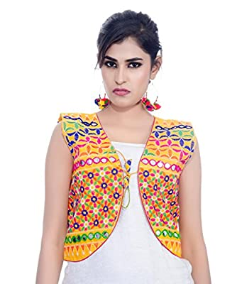 Banjara India Women's Poly Cotton Embroidered Kutchi Short Jacket/Koti (SJK-BLT05_Yellow_Free Size)