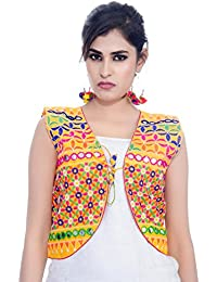 Banjara India Women's Poly Cotton Embroidered Kutchi Short Jacket/Koti (SJK-BLT05_Yellow_Free Size)