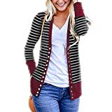 TianWlio Jacken Parka Mäntel Herbst Winter Warme Jacken Strickjacken Damen Lange Ärmel Streifen Taste runter Rundhal Sausschnitt Stricken Strickjacken rot L