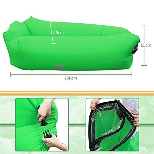 aufblasbares sofa iregro tragbarer aufblasbarer sitzsack mit integriertem kissen und. Black Bedroom Furniture Sets. Home Design Ideas