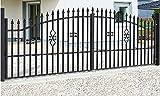 SO2 Einfahrtstor Hoftor Doppelflügeltor Gartentor Bellevue mit Riegelset 400 x 150 cm Komplett-Set inklusive 2 Torelementen, 2 Stahlpfosten und Beschlägen. Gesamtbreite ist ca. 421 cm