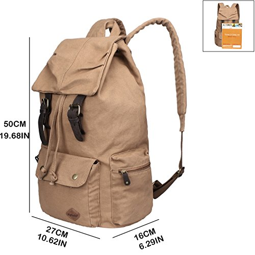 Imagen de fafada vintage lienzo  para hombre  casual bolsas de viaje senderismo bolsos satchels kahki size 30x16x45cm/11.81x6.30x17.72in alternativa