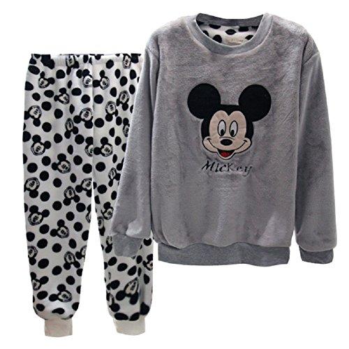 BOMOVO-Conjunto-de-pijama-Cachemira-de-coral-Mickey-Mouse-gris