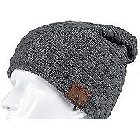 BLACK ELL Auricular inalámbrico Bluetooth Beanie Hat Cap, Altavoz Inteligente para Auriculares, Unisex Suave, 3