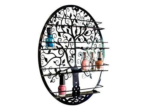SoCal Buttercup Organizer für Nagellacke und ätherische Öle (bis 10 ml. Flaschen) Ovales Metall mit Baumsilhouette - Rundes Wandregal zur Wandmontage (schwarz) (Regale Zoll 12 Metall)