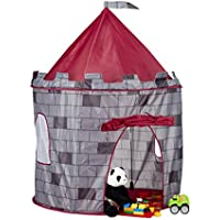 Relaxdays Knight's Castle Play Tent, Medieval Playhouse for Boys, Ages 3 and Up, HxWxD: 125 x 105 x 105 cm, Grey