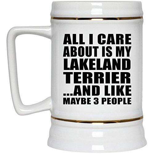 Lakeland Stein (All I Care About Is My Lakeland Terrier - Beer Stein Bierkrug Keramik Bierhumpen Bar Becher Kneipenkrug - Geschenk zum Geburtstag Jahrestag Muttertag Vatertag Ostern)