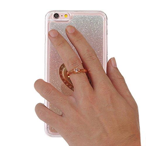 """iPhone 6sPlus Handyhülle, Bling Glitzer Funkeln CLTPY iPhone 6Plus Durchsichtig Dünne Matte Gel Cover Schlanke Hybrid Stoßdämpfende & Kratzfeste Gummi Case mit Kippständer für 5.5"""" Apple iPhone 6Plus/ Rose Gold with Ring"""