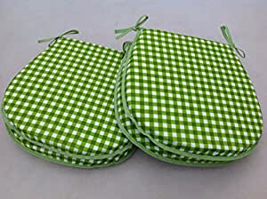 """SET OF 4 LIME GINGHAM CHAIR SEAT PADS (For Seats Approx.14""""x14"""")"""