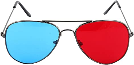 uxcell Full Frame Plastic w Metal Arms Anaglyph 3D Eyeglasse