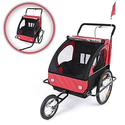 SAMAX Fahrradanhänger Jogger 2in1 Kinderanhänger Kinderfahrradanhänger Transportwagen vollgefederte Hinterachse für 2 Kinder