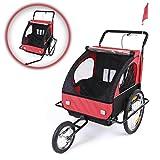 SAMAX Remolque de Bicicleta para Niños Kit de Footing Transportín Silla Cochecito Carro Suspensíon Infantil Carro Black Frame