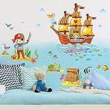 Bilderwelten Wandtattoo Piraten Set Wandtattoo Wandsticker Kinderzimmer Illustration, Größe: 30cm x 45cm