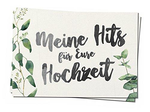 50 Musikwunschkarten A7 Musikwunsch Hochzeit Hochzeitsfeier DJ Karte 50er Set evergreen love 10,5 x 7,4 cm Eukalyptus grün