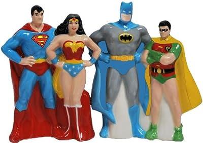 Westland Giftware Superheroes magnétique en céramique Sel et Poivre Shaker Ensemble, 10,2cm