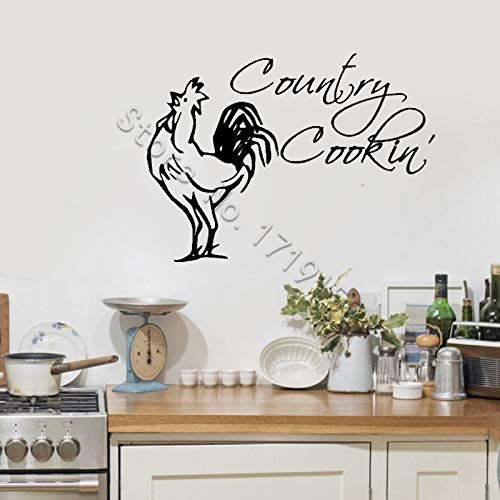 zhuziji Rooster Decor Wandtattoo Zitate Country Cooking Wandaufkleber Country Kitchen Interior Aufkleber Country Kitchen Art Decor Di   57x41cm