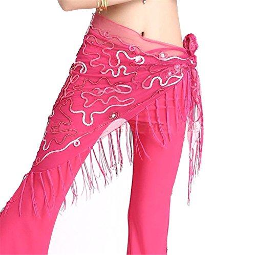 Dance Accessories Tribal Womens Net Yarn Danse du ventre costume Hip écharpe Hip jupe Triangle Tassel Foulard Costume Dark Pink