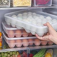 Soporte para huevos - transparente apilable 34 huevos recipiente con Tapa para frigorífico gran capacidad contenedor de almacenamiento Caja - Juleya