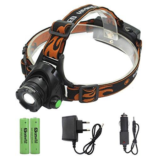 Siuyiu 2000 Lumen XM-L T6 LED-Scheinwerfer Scheinwerfer Taschenlampe Stirnlampe Taschenlampe wiederaufladbare Scheinwerfer für Camping Biking Arbeits Jagen Fischen Reiten (inklusive und Ladegerät)