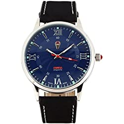 Swiss Emporio SE03BLSL10 Men's Quartzwith Blue Dial Analogue Display and Black Leather Strap