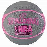 Spalding NBA Highlight Ballon de Basket Femme, Gris/Rose Fuchsia, 6.0
