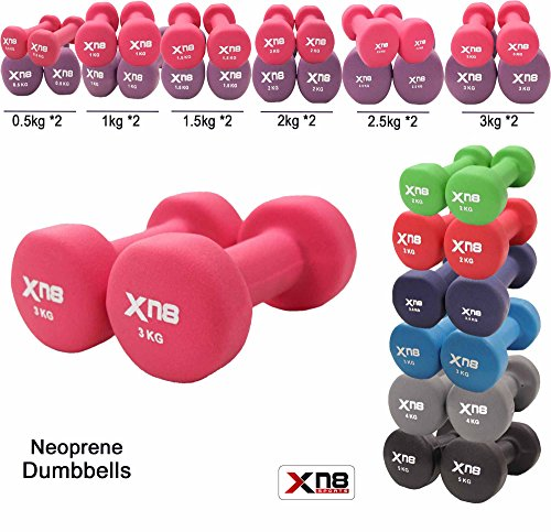 Neoprene Dumbbell Set 1Kg, 2Kg, 3Kg, 4Kg, 5Kg, 6kg, 8kg, 10kg pair Ladies Gents Aerobic Weights Fitness Body Toning Home Gym Strength Exercise Biceps Training Pilates (Pink, 3Kg Set = (3*2 = 6Kg))