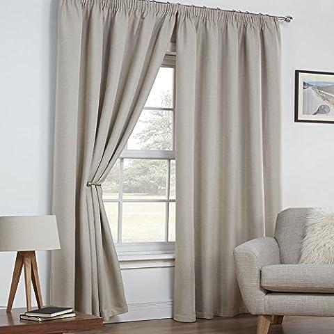 Tony's Textiles - Vorhänge mit Kräuselband - wärmeisolierend - gewebte Leinen-Optik texturiert - 2 Vorhangschals - Natur/Creme - 229 x 229 cm B x L