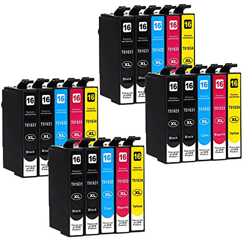 20 Druckerpatronen kompatibel zu Epson 16-XL / T1626 / T1636 (8x Schwarz, 4x Cyan, 4x Magenta, 4x...