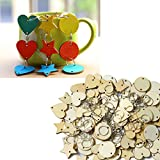 ToBeIT 150 Stücke Runde Sterne Herz holzscheiben mit Loch 30mm durchmeser und 150 Stücke Edelstahl Ringe für DIY Handwerk Dekoration