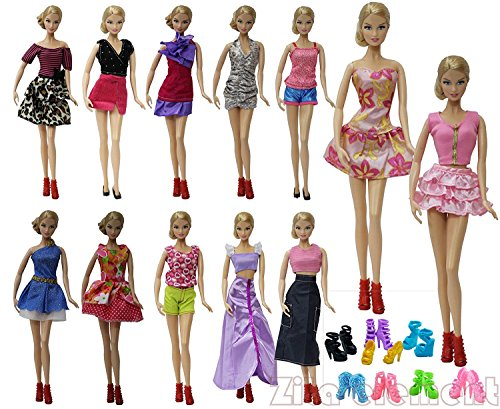 ZITA ELEMENT ROPA DE MUñECA 20 ARTICULOS =10 MODA VERANO SHORT WEAR CLOTHES OUTFIT +10 ZAPATOS FOR BARBIE DOLLS CLOTHING-ESTILO ALEATORIO