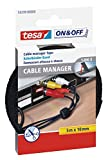 tesa® On & Off Cable Manager Universal aus Klettband, schwarz, 5 m x 10 mm (3er Pack)