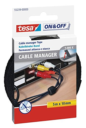 tesa® On & Off Cable Manager Universal aus Klettband, schwarz, 5 m x 10 mm (10er Pack) -