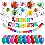 Geburtstagsdeko, Delicacy 45 Pcs Geburtstag Dekorationen Party Dekoration mit Alles Gute Zum Geburtstag Banner Luftballons und Wirbel Dekoration, Party Papier Fans Honeycomb Balls Herz-Papier-Girlande