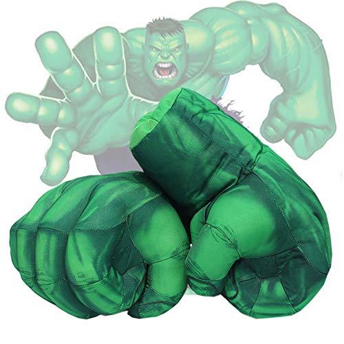 robinlu Hulk Handschuhe Kinder Boxhandschuhe, 1 Paar Hulk Hände Lustig Superheld Plüsch Faust Boxen Cosplay Kostüm Spielzeug Fäuste für Geburtstag Weihnachten (Grüne)