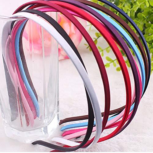 10 Stück DIY Satin Stirnbänder Damen Haarbänder, langlebiges Haar, mehrfarbig, Satinband überzogen Stirnband aus Metall