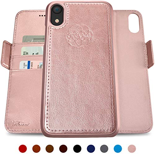 dreem Fibonacci 2-in-1 Wallet-Case for iPhone XR Magnetic Detachable Shock-Proof TPU Slim-Case, Wireless Charge, RFID Protection, 2-Way Stand, Luxury Vegan Leather, Gift-Box - Rose-Gold