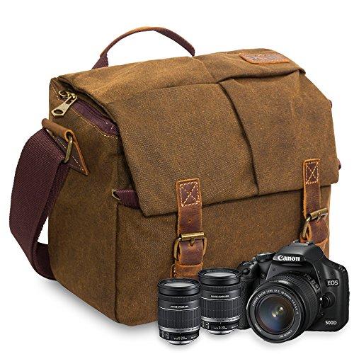 FOLUR Waterproof Vintage DSLR SLR Camera Bag Canvas Leather Satchel  Shoulder Messenger Bag with Shockproof Interior b2226379a8b70