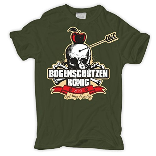 Männer und Herren T-Shirt Bogenschiessen Bogenschützen König Olive