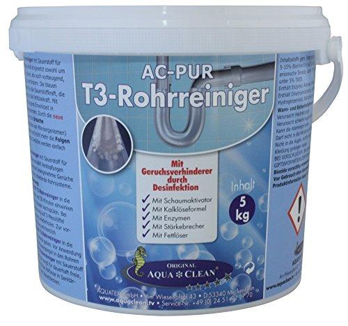 AQUA CLEAN PUR T3 Rohr & Abfussreiniger 5kg ! Neu mit Geruchsverhinderer durch Desinfektion !