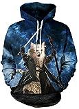 Sucor Herren Unisex Slim Fit 3D Druck Long Sleeve Kapuzenpullover Mit Taschen Sweatshirt Top Jumper(XXL/XXXL,Hobbit-Katze)