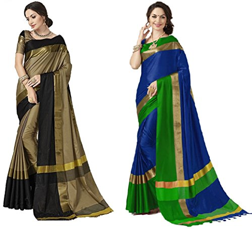 Art Décor Sarees Women's Pack of 2 Sarees Cotton Silk Saree With Blouse (Pack of Two Sari) - More Then 30 Colors (Aalu Sony Blue)
