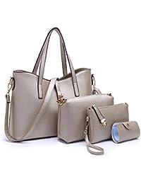 Sifini Women Fashion Pu Leather Handbag+Shoulder Bag+Purse+Card Holder 4Pcs Set Tote (Gold)