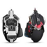combatwing 4800dpi Gaming Maus Basis aus Aluminium, 10Knöpfe, RGB LED Profi programmierbar USB Wired Gaming-Mäuse für Laptop oder Desktop-Computer schwarz schwarz